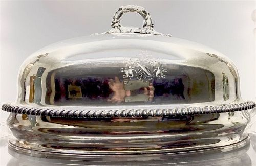 Old Sheffield silver plate meat dome, crested