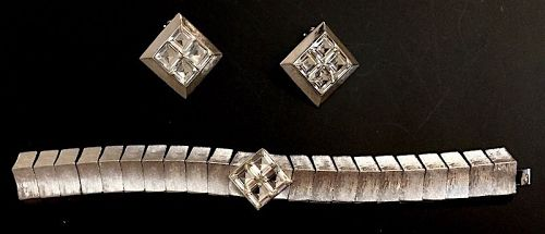 Vintage silver and crystal costume bracelet and earrings set