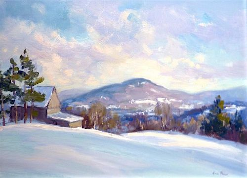 Eric Tobin winter painting - Late Afternoon Stillness Johnson, VT