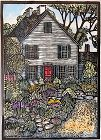 Mary Azarian signed colored wood block - Cottage and Herb Garden