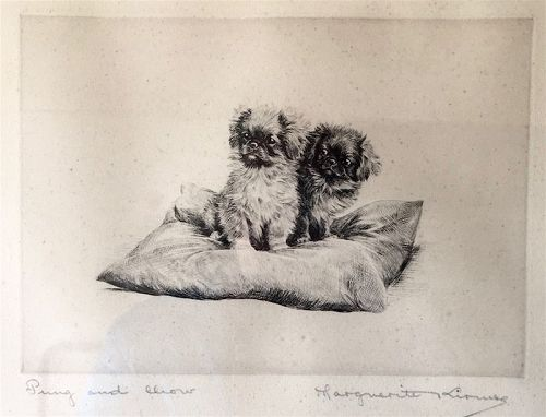 Marguerite Kirmse signed original dog etching - Pung and Chow