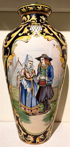 Henriot Quimper large pottery vase with Wedding scene