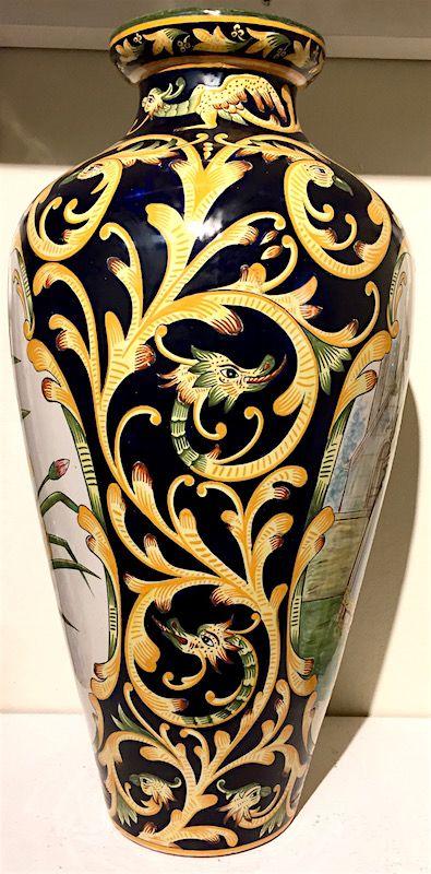 Henriot Quimper large pottery vase with Wedding scene