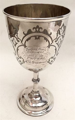 English sterling silver trophy goblet - Sailing Boats 1st Pl prize