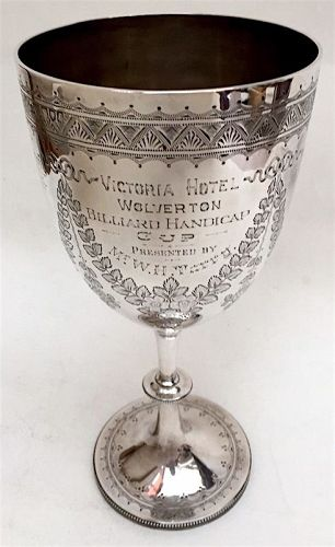 English sterling silver Billiards trophy goblet