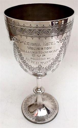 English sterling silver Billiards trophy goblet