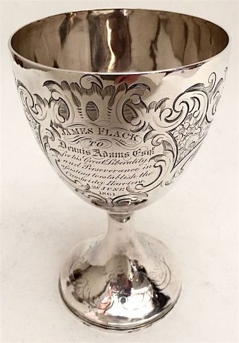 English sterling silver presentation goblet - Cambridge Harriers, 1861