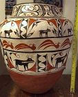 Native American large Zuni pottery olla with deer and roadrunner