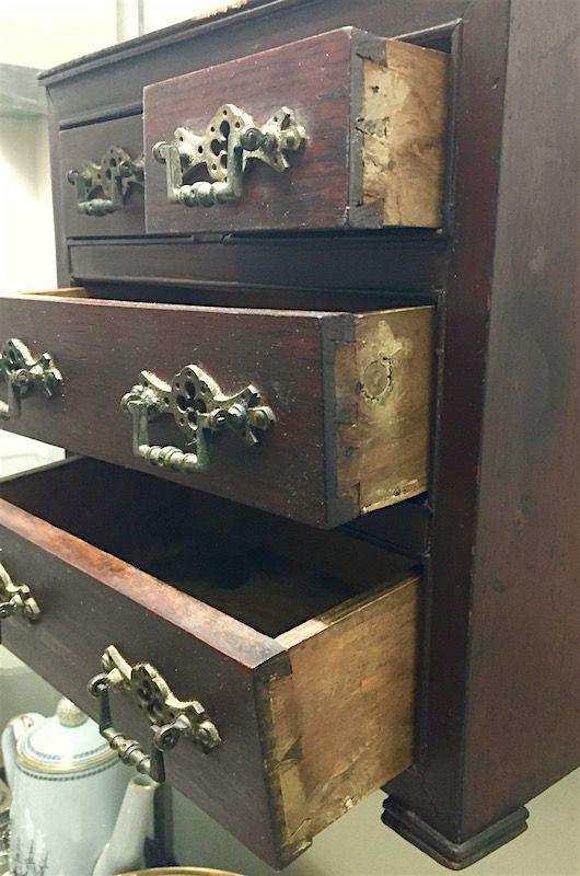 English miniature Victorian mahogany chest