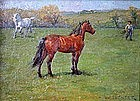 Louis Feuchter oil painting of horses in pasture