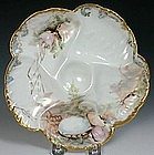 Limoges oyster plate, artist signed with sea shells