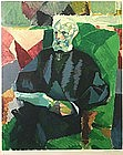 Jacques Villon Cubist etching of Pere Duchamp, French