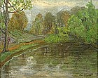 Carl Ringius American landscape oil painting of a river