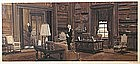 James Elwood Reynolds watercolor painting of library