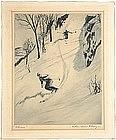 Churchill Ettinger original etching of Skiers, c.1949