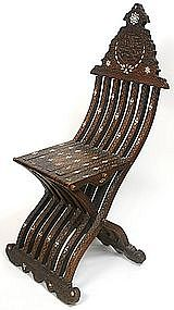 Antique Syrian mother-of-pearl inlaid folding chair