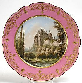 Sevres scenic topographical cabinet plate with chateau