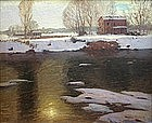 Peter Nielsen landscape painting of farm & river