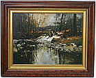 Charles Gruppe painting of winter stream