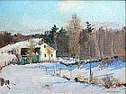 Charles Curtis Allen painting of farmhouse in winter