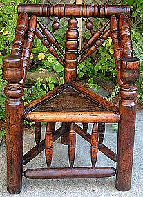 Early English turner's chair, three legged, c.1610-1650