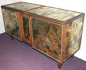 Art Deco style bar cabinet with mottled glass panels