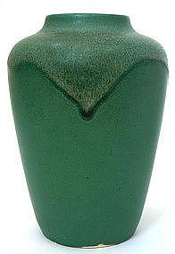 Newcomb College vase with matt green drip glaze