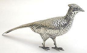 Antique figural silver pheasant game bird ornament