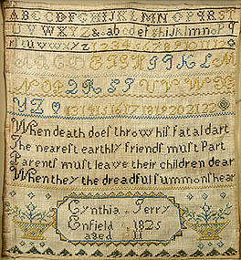 New Hampshire sampler, Enfield, NH, dated 1825