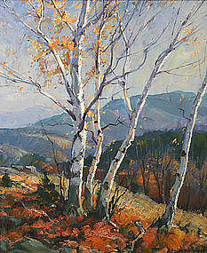 Emile Gruppe painting of Afternoon Birches