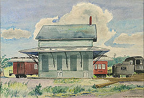 Frederick Clay Bartlett Jr. painting of train station