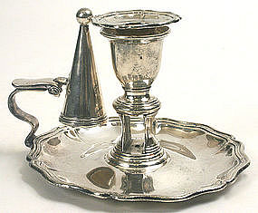 Old Sheffield silver plate chamberstick, Georgian