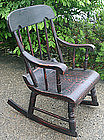 Child size Boston rocker chair, grain painted, antique