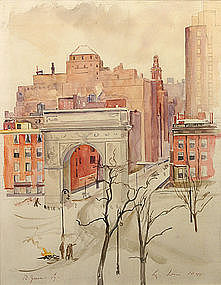 Luigi Lucioni w/c painting - Washington Square, NYC
