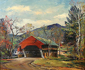 Roger Deering painting - Covered Bridge, Jackson, NH