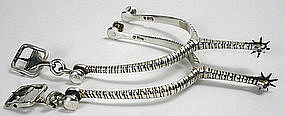 Scottish Georgian sterling silver riding spurs, 1813