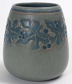 Marblehead Pottery vase with leaf and berry decoration
