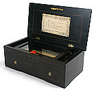 Swiss cylinder music box, 4 tunes, Geneva