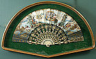 Antique French hand painted fan with carved bone sticks