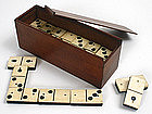 Antique Civil War era bone, ebony dominoes game in box