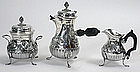 French three piece sterling silver coffee set