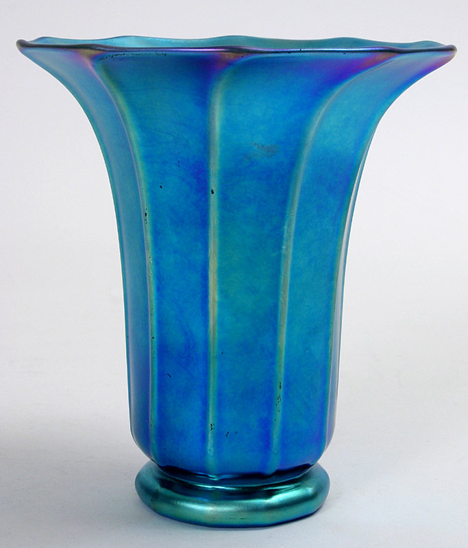 Steuben Blue Aurene Vase Signed Art Glass Item 881690