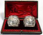 Pr. English sterling silver repousse napkin ring