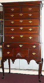 New England Queen Anne highboy in cherry, married