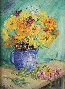 Arthur B. Wilder still life - Wildflowers in a Blue Jug