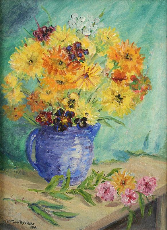 Arthur B. Wilder still life - Wildflowers in a Blue Jug