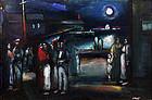 "Lewis Jean Liberte painting ""Night on the Docks"""