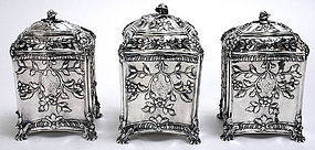 Georgian sterling tea caddy caddies, William Vincent