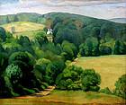 Luigi Lucioni painting, Vermont landscape, country road
