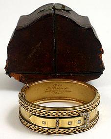Victorian Etruscan gold bangle bracelet, 14kt, diamonds